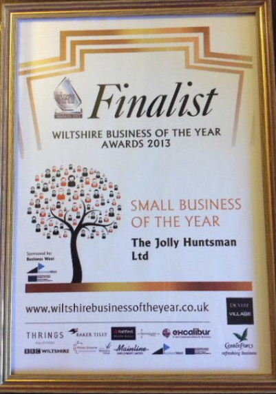 Jolly Huntsman Small Business Award, finalist certificate.