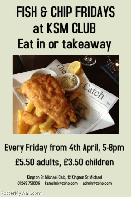 Kington St Michael Club fish & chips poster