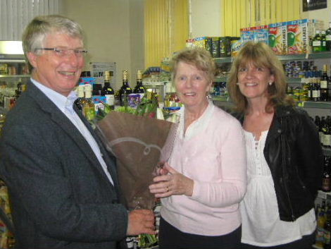 Shop manager handover 30th September 2013.  Rick Squires, Avril Balmforth & Hilary Leek.